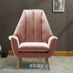 Upholstered Tulip Scallop Wing Chair High Backrest Armchair Velvet Sofa Fireside
