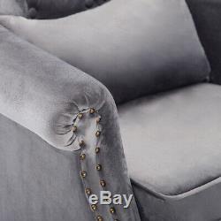 Upholstered Velvet Armchair Chesterfield Wing Back Fireside Tufted Fabric Chair
