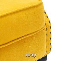 Upholstered Velvet Button Wingback Armchair Fireside Queen Anne Chair Sofa Seat