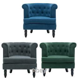 Upholstered Velvet Queen Anne Deep Button Armchair Tub Bucket Chair Sofa Lounge