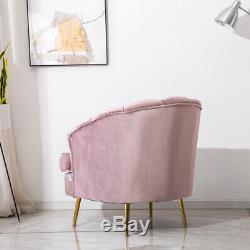 Upholstered Velvet Wing Chair Scallop Shell Back Armchair Blush Pink Fireside UK