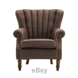 Upholstered Victorian Nordic Wing Back Chair Armchair Fireside with Wooden Legs