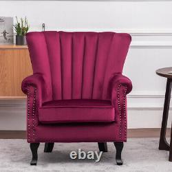 Upholstered Wing High Back Armchair Sofa Chair Oyster Velvet Fireside Retro Seat