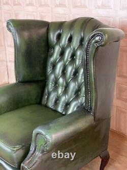 VINTAGE Green Leather Chesterfield Fireside Wingback Armchair £55 DELIVERY