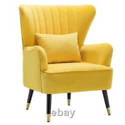 Velvet Armchair Oyster Chair Lounge Seat Wooden Legs Single Sofa Fireside Seat