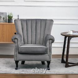 Velvet Armchair Queen Anne Nailhead Vintage Sofa Fireside Tub Chair Lounge Tulip