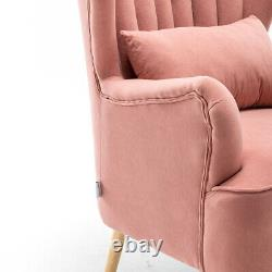 Velvet Armchair Wing High Back Occasional Sofa Fireside Lounge Chair w Footstool