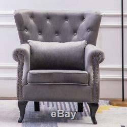 Velvet Ash Fireside Wingback Armchair Button Cocktail Wing Chair Queen Anne Seat