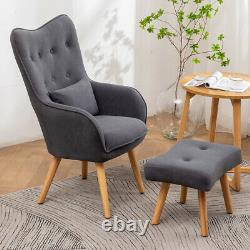 Velvet Button Armchair Wing Back Chair with Foot Stool Sofa Lounge Fireside Seat