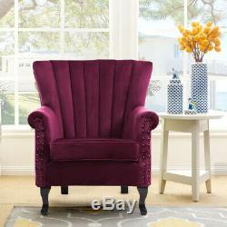 Velvet Chesterfield Chair Queen Anne Wing Back Armchair Fireside Lounge Sofa HOT