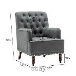 Velvet Chesterfield Sofa Armchair Button Back Tub Accent Fireside Lounge Chair