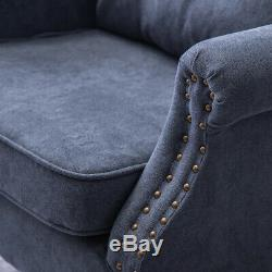 Velvet Fabric Armchair Buttoned Back Stud Occasional Fireside Sofa Lounge Chair