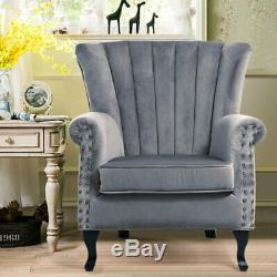 Velvet Grey Vintage High Wing Back Armchair Studded Fireside Lounge Tub Chair