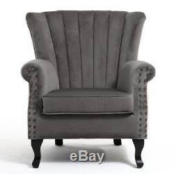 Velvet Grey Wing Back Armchair Studded Fireside Tub Chair Accent High Backrest
