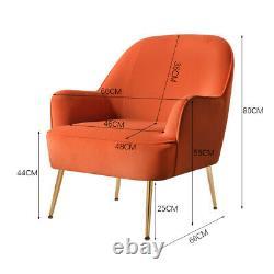 Velvet Modern Armchair Lounge Tub Chair Wing Back Single Sofa Fireside Armchairs