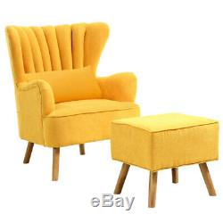 Velvet Scalloped Armchair High Wing Back Chair Footstool Ottoman Stool Fireside