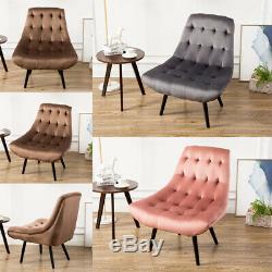 Velvet Upholstered Tub Chair Chesterfield High Back Wing Armchair Fireside Sofa