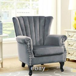 Velvet Wing Back Cocktail Tub Chair Scalloped Stud Armchair Fireside Living Room