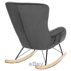 Velvet Wing Back Rocking Chair Armchair Fireside Lounge Chair Swivel Single Sofa