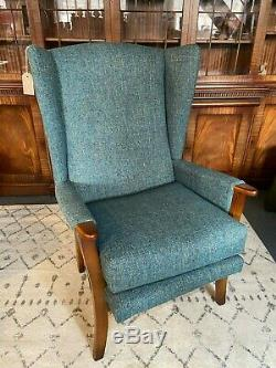 Vintage 1950s Mid Century Wingback Armchair Fireside Chair Recovered Blue Fabric