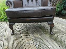 Vintage Brown Leather Wing Back Chesterfield Fireside Chair with Queen Anne Legs