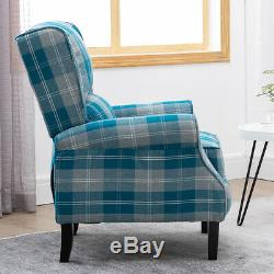 Vintage Check Recliner Lounge Chair Armchair Sofa Wing Back Fabric Fireside Home