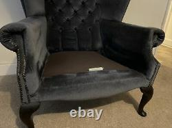 Vintage Fabric Chesterfield / Queen Anne / Knoll Fireside Wing Back style chair