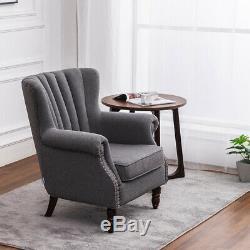 Vintage Orthopedic Wing Back Tub Chair Fabric Armchair Fireside Sofa Lounge Seat