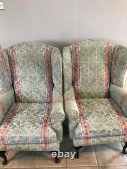 Vintage Pair Of Wing Back Fireside Armchairs Chairs Green Striped