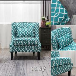 Vintage Print Fabric Occasional Lounge Fireside Chair Accent Armchair Wing Back