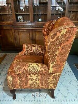 Vintage Queen Anne Wingback Fireside Chair Armchair Rusty Orange