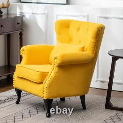 Vintage Upholstered Fabric Button Armchair Queen Anne Studs Chair Sofa Fireside