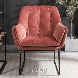 Vintage Velvet/Distressed PU Armchair Accent Lounge Chair Buttoned Fireside Sofa