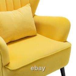 Vintage Velvet Wing Back Armchair Oyster High Back Fireside Bedroom Lounge Chair