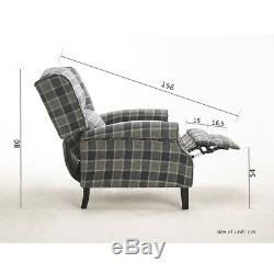 Vintage Wing Back Fireside Check Lounge Fabric Armchair Sofa Recliner Tub Chairs