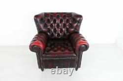 Vintage Wing Back Leather Chesterfield Armchair, Red Oxblood Fireside Chair