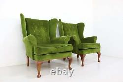 Vintage Wing Back Matching Pair of Fireside Armchairs Immaculate Green Velour