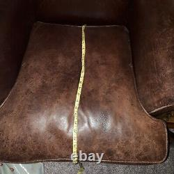 Vintage comfortable DISTRESSED BROWN soft LEATHER WINGBACK CHAIR FIRESIDE