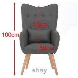 WING BACK LINEN ACCENT ARMCHAIR TUB CHAIR HOME FIRESIDE BEDROOM SEAT WithFOOTSTOOL