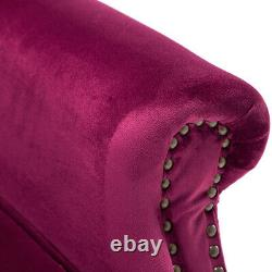 Wine Red Wing Chair High Back Velvet Fabric Tub Chair Fireside Armchair Lounge