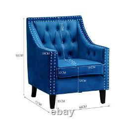 WingBack Buttoned Cuddle Chair Velvet Fireside Armchair with Rivets Cushioned Sofa