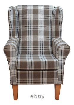 WingBack Fireside Armchair in a Kintyre Chestnut Fabric and Tapered Legs