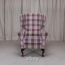 WingBack Fireside Chair Kintyre Heather Tartan Fabric Armchair