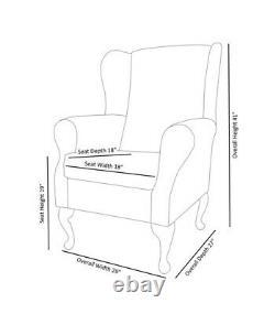 WingBack Fireside Chair Lemon Cambio Fabric Armchair Queen Anne Legs UK