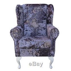WingBack Fireside Chair Lustro Lavender Crush Velvet Fabric Armchair Orthopaedic