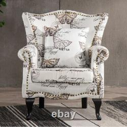 Wing Back Accent Armchair Sofa Fireside Scroll Arm Lounge Chair Velvet/Fabric UK