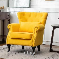 Wing Back Armchair Chestrfield Deep Button Fireside Chair Bedroom Living Room
