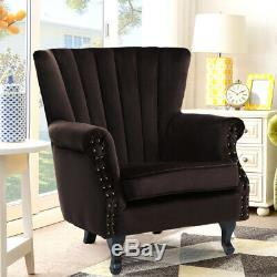 Wing Back Armchair Fireside Recliner Velvet Fabric Armchair Sofa Chairs Lounge