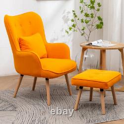 Wing Back Armchair High Back Button Tub Chair Fireside Bedroom Sofa withFootstool