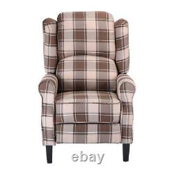 Wing Back Armchair Recliner Chair Fireside Fabric Reclining Lounge Bedroom Brown